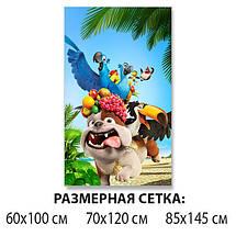 Детская виниловая наклейка на стол Мультфильм Рио (пес, попугай), самоклеющаяся пленка, голубой 60 х 100 см, фото 2