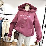 Женское теплое худи на флисе с надписью и карманом (размер 42-46) 6804900, фото 3