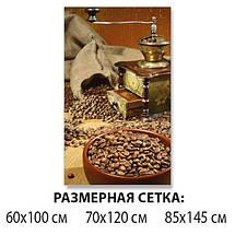 Виниловая наклейка на стол Зерна кофе Кофемолка ламинированная пленка двойная декор, коричневый 60 х 100 см, фото 2