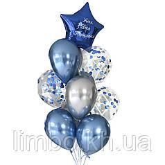 Воздушные шары мужчине с хромами и конфетти
