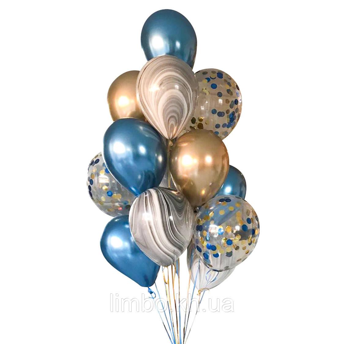 Композиции из шаров для мужчин в синем и золотом цвете