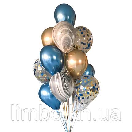 Композиции из шаров для мужчин в синем и золотом цвете, фото 2