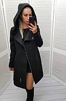 Черное женское пальто с капюшоном, арт 136/1