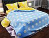 Комплект качественного постельного белья, размер євро, желто-голубое