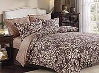 Красивое и качественное постельное белье евро размер, коричневое