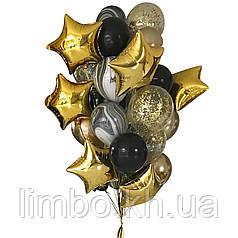 Оформление шарами для мужчины в черно-золотом цвете со звездами