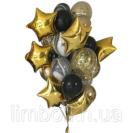 Оформление шарами для мужчины в черно-золотом цвете со звездами, фото 2