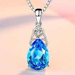 Жіночий кулон, Медсплав, Кулон з кристалом. Ланцюг з кристалом блакитного кольору AL1733-20