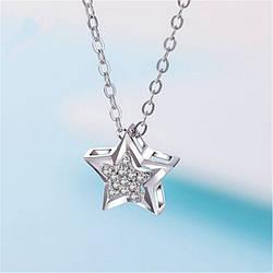 """Жіночий кулон """"Зірка"""", медсплав, ланцюжок срібного кольору зі стразами, ланцюжок у вигляді зірки AL1760-75"""