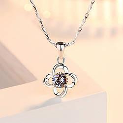 """Підвіска """"Квітка"""", кулон у вигляді квітки, медсплав, квітка з кристалом AL1757-75"""