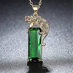 Жіночий кулон з тигром, медсплав, кулон з зеленим кристалом AL1750-65