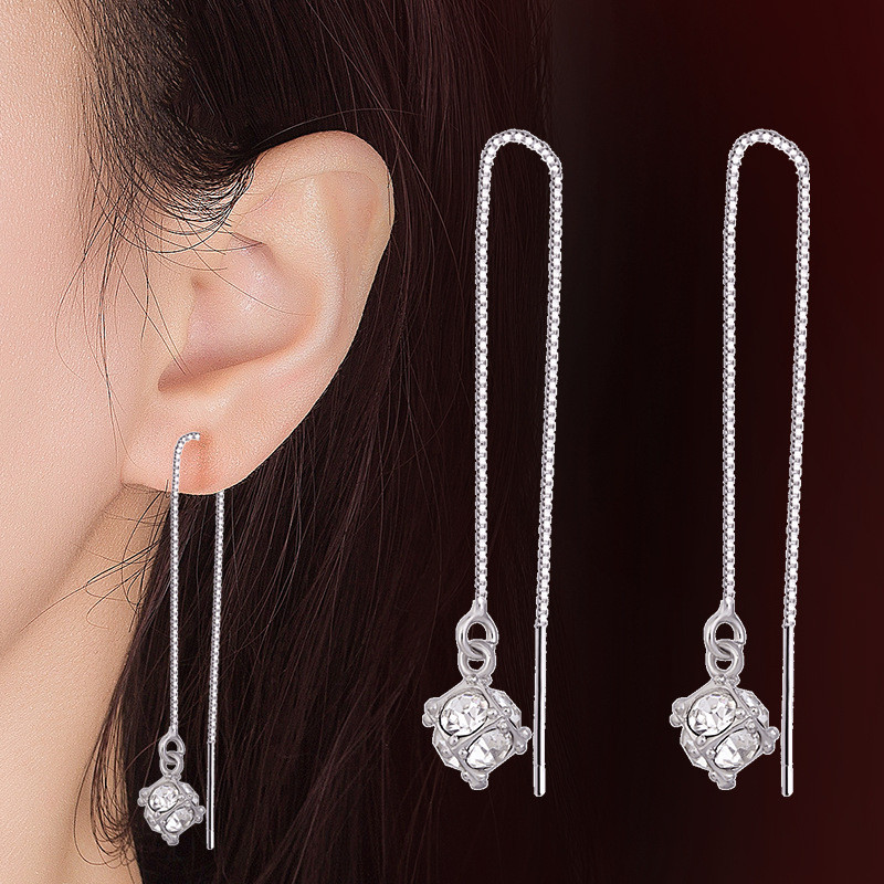 Сережки Підвіски, медсплав, жіночі сережки з кристалом, сережки срібного кольору AL1711-75