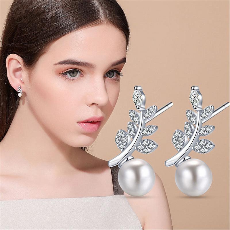 Сережки гілка з перлами, Медсплав, Сережки срібного кольору, Жіночі красиві сережки AL1726-75