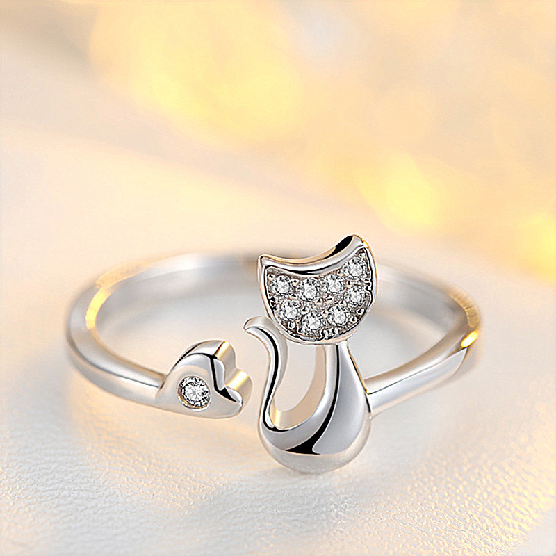 """Женское кольцо с котом, кольцо """"Кот"""", медсплав,кольцо с сверкающими камушками AL1728-75"""