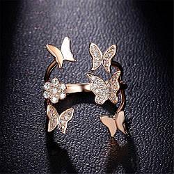 """Жіноче кільце """"Метелик"""", медсплав, кільце золотого кольору, кільце з метеликами AL1749-65"""