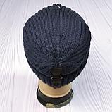 М 94001. Шапка кнопка чоловіча, підліткова зима на флісі, розмір вільний, різні кольори, фото 5
