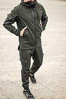 Мужской спортивный костюм софтшел хаки | Штаны карго и куртка Softshell на флисе
