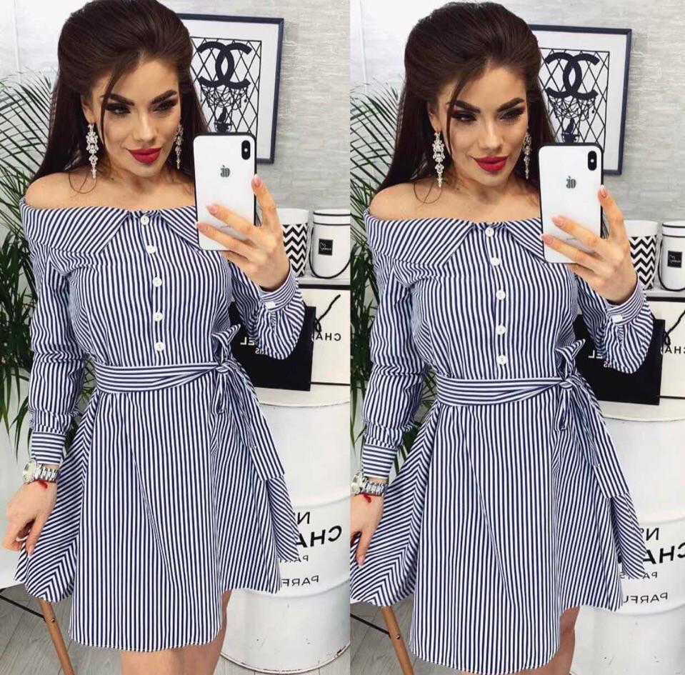 Платье с длинным рукавом рубашечного стиля и открытыми плечами, разные цвета р.44-46 Код 108Р