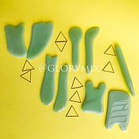 Скребок ГуаШа, Gua Sha, зеленый, стекло