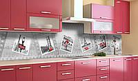 Виниловый кухонный фартук Фотография Лондон (самоклеющаяся пленка ПВХ скинали 3Д) фотосамоклеющаяся пленка Абстракция Серый 600*2500 мм, фото 1