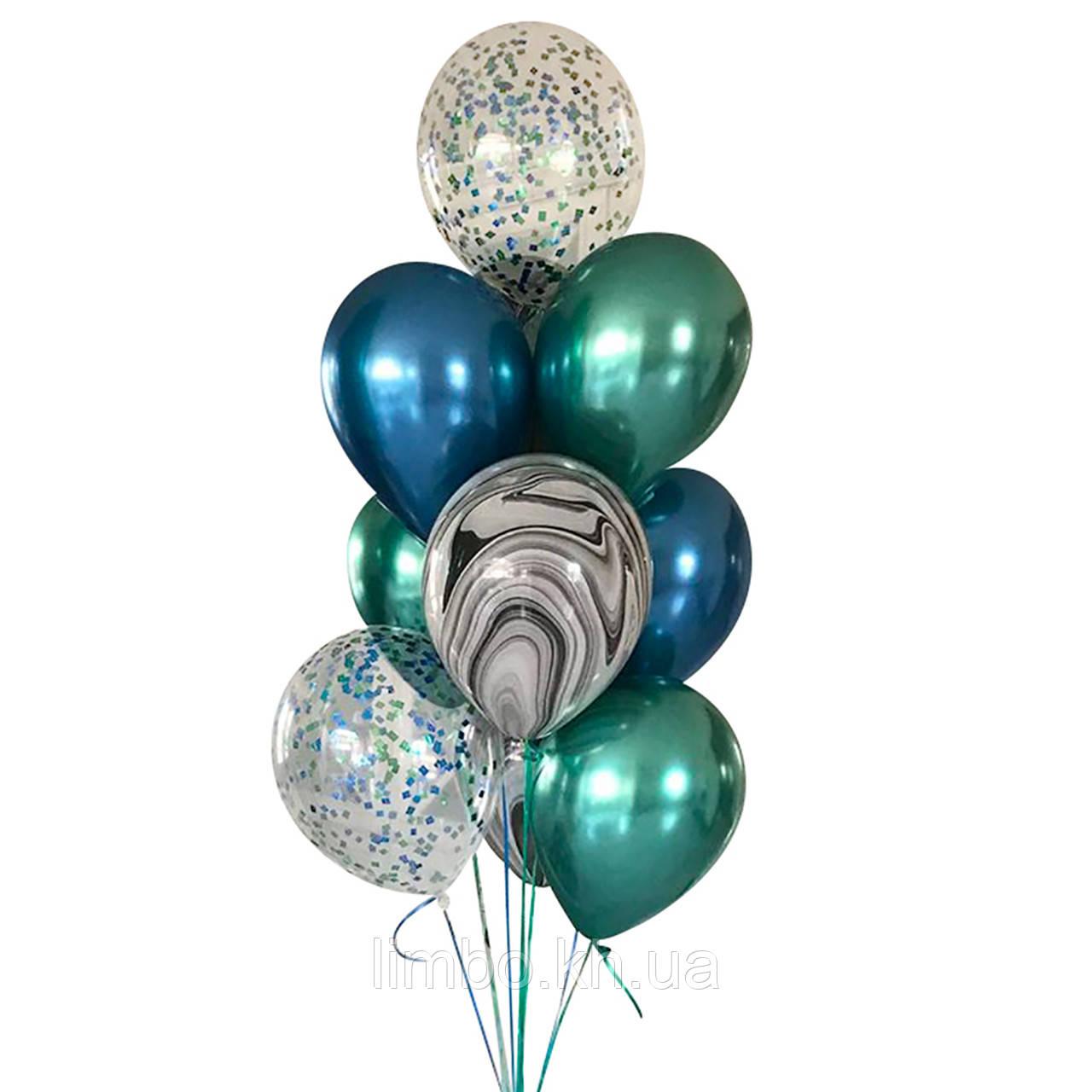 Композиция шаров для мужчины с шарами  хром и конфетти
