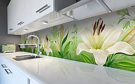 Вініловий кухонний фартух Білі Лілії самоклеюча плівка ПВХ скіналі 3Д Квіти Зелений 600*2500 мм