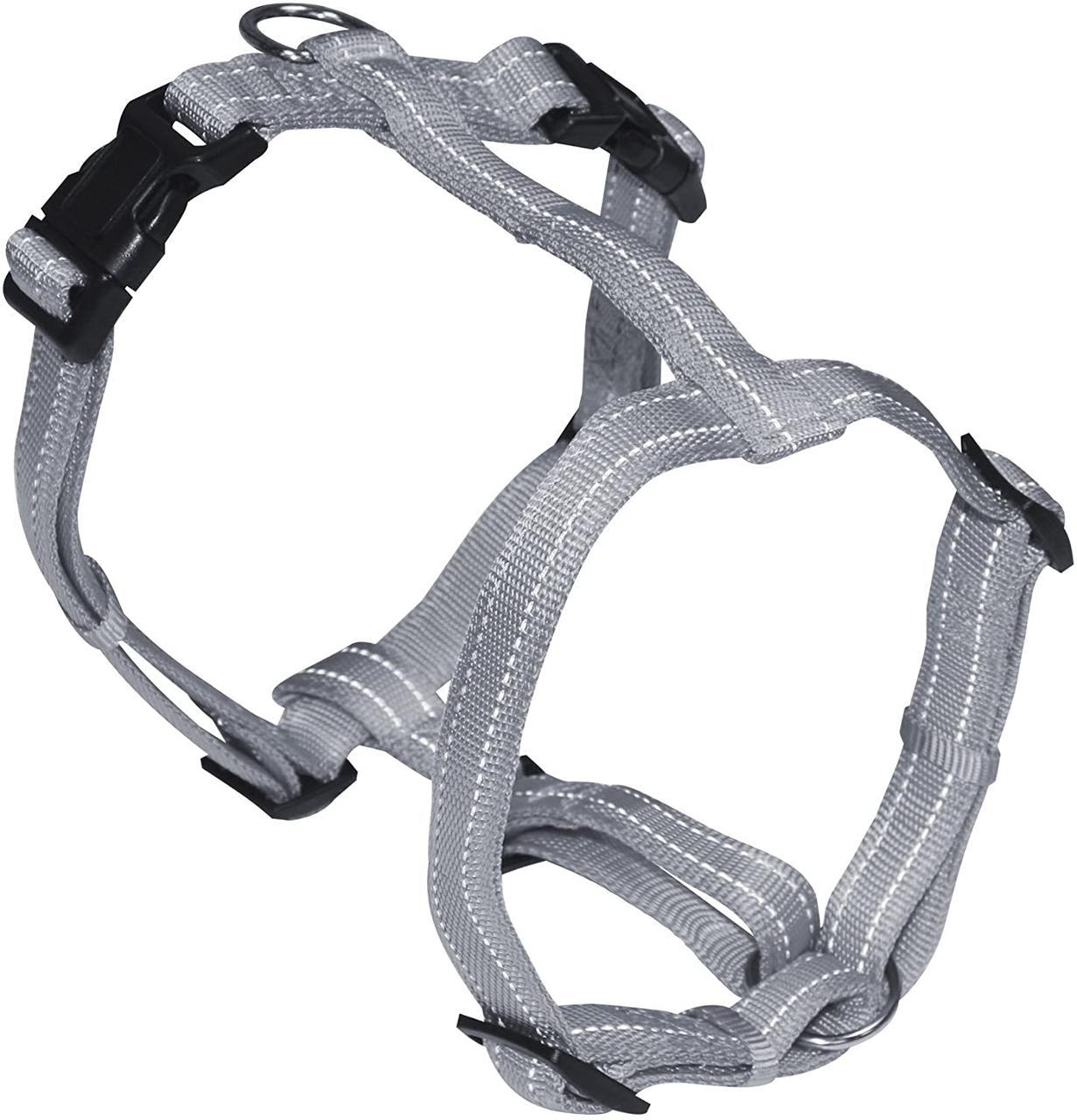 Шлея для собак 65-80 см Croci SOFT REFLECTIVE. Серый нейлон