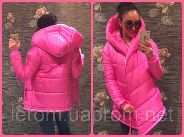Розовая  модная зимняя куртка Джени