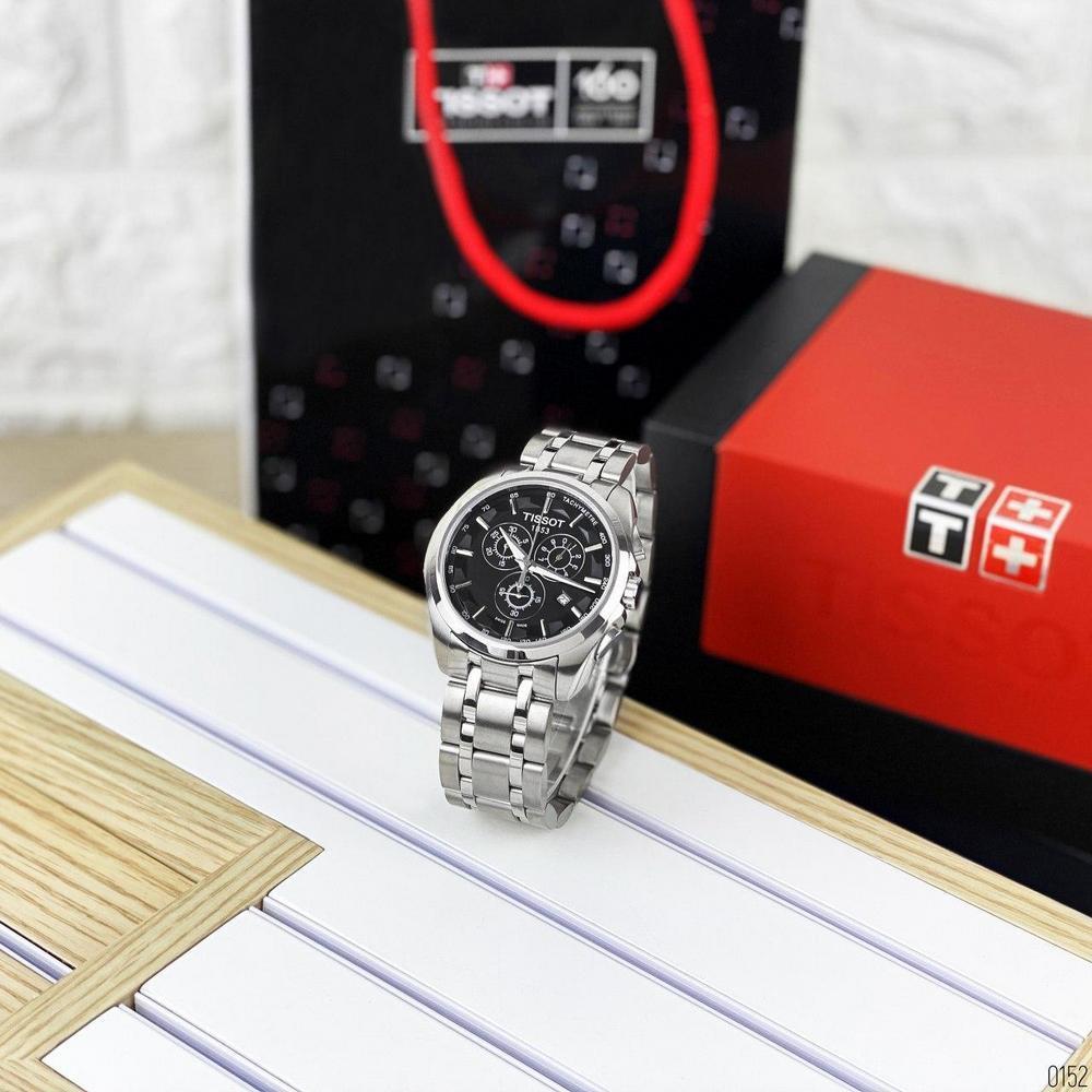 Наручные часы ААА класса Tissot T-Classic Couturier Chronograph Steel Alt Silver-Black