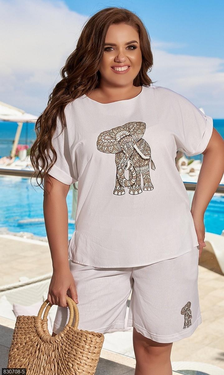 Костюм женский шорты футболка большого размера  белый Осень Украина 48-62, 830708-5