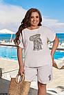 Костюм женский шорты футболка большого размера  белый Осень Украина 48-62, 830708-5, фото 3