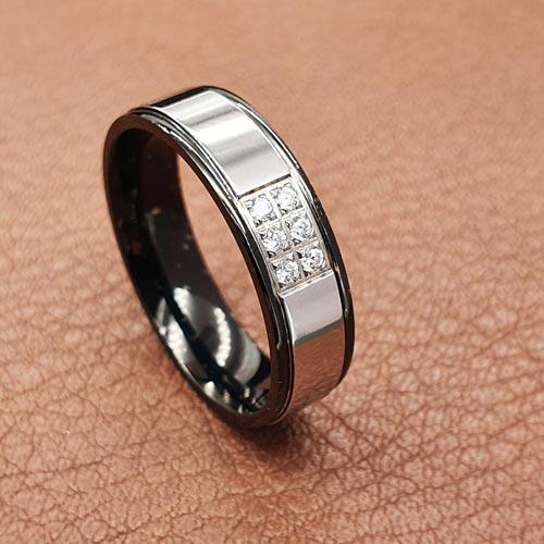 Свадебные кольца из медицинской стали с шестью циркониями 6 мм 176261
