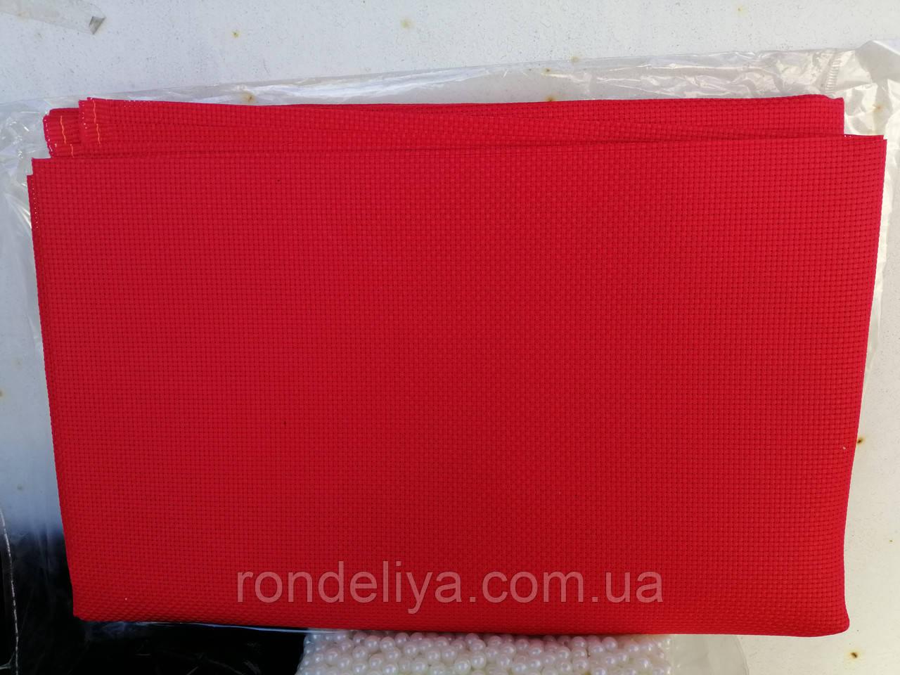 Канва червона для вишивки 45 клітин на 10 см, велика