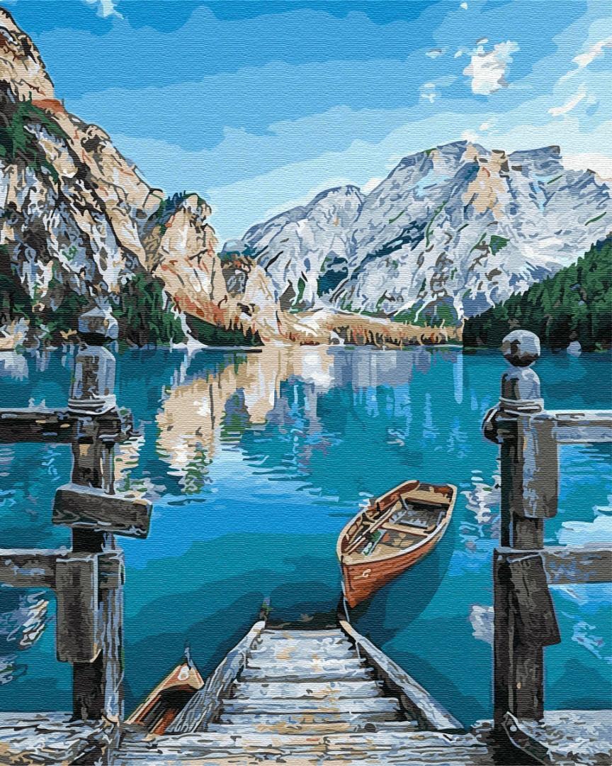 Картина по номерам - Лодка у озера Брайес 40*50 см.