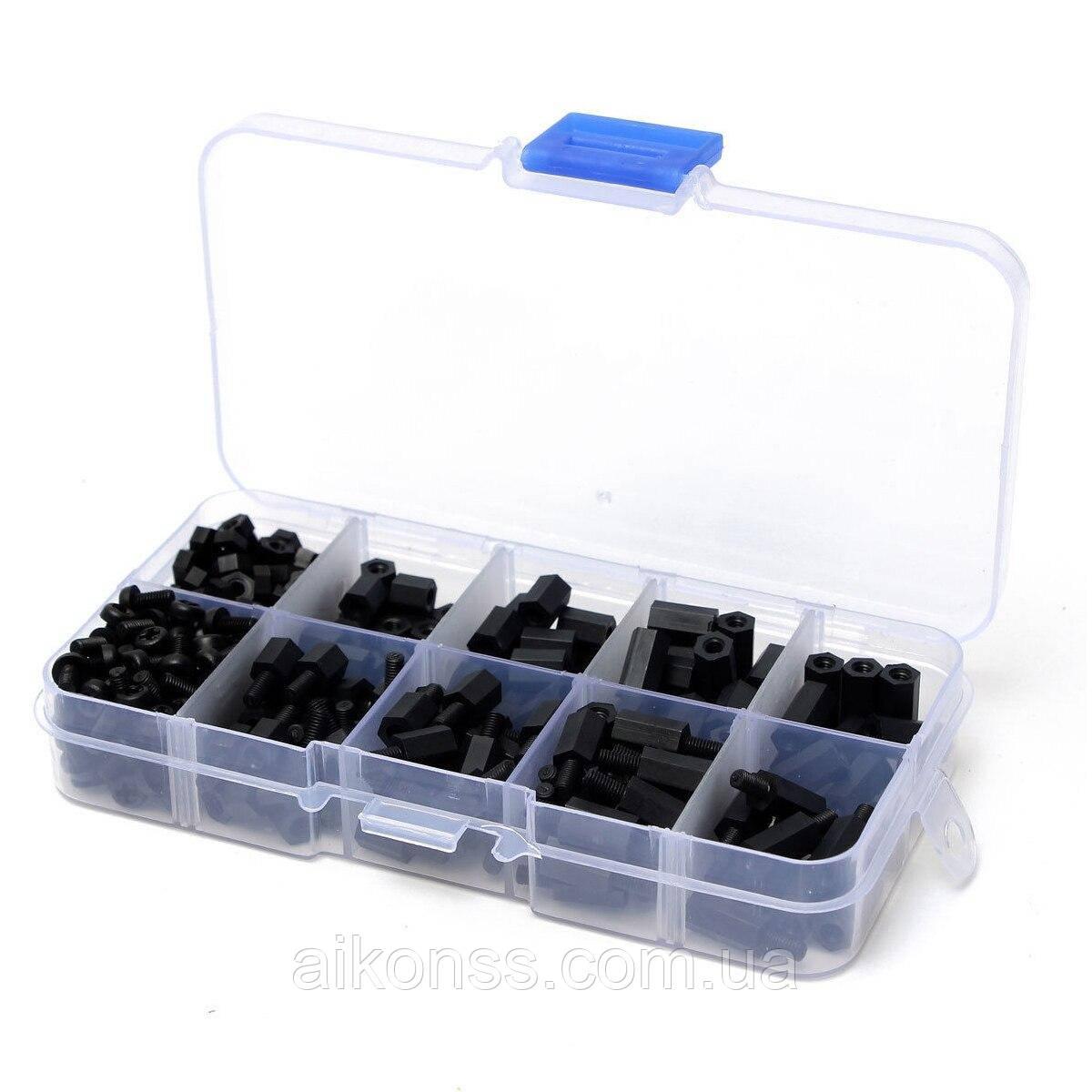 Нейлонові кріплення PCB 160 дрібниць (болтики і гвинтики) для плат в пластиковій коробці 13*6.7*2.2 см