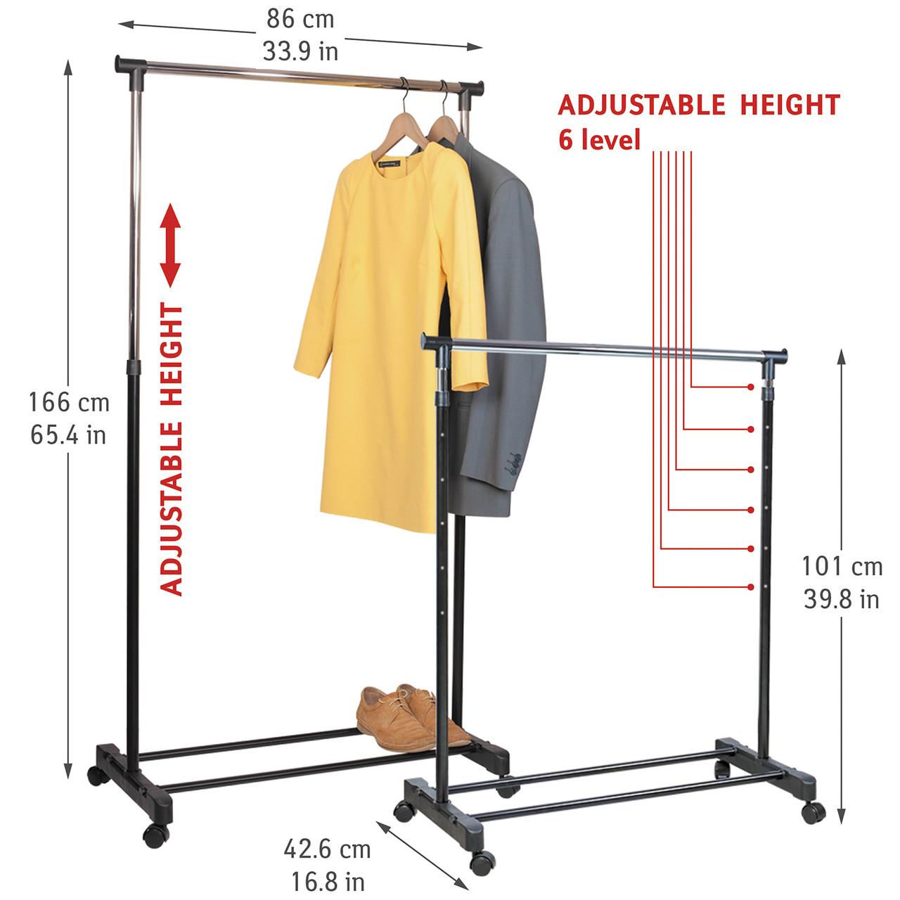 Стойка для одежды Tatkraft Mercury на колёсиках из хромированной стали 86×101-166×42.5 см (13001)