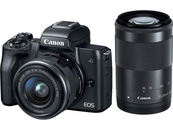 Цифровая фотокамера Canon EOS M50 + 15-45 IS STM + 55-200 IS STM Black (2680C054)