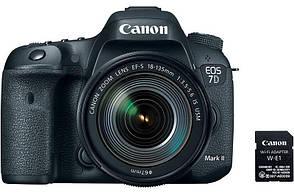 Цифрова фотокамера дзеркальна Canon EOS 7D Mark II +  18-135 IS USM + WiFi адаптер W-E1 (9128B163), фото 2