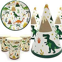 """Набор посуды """"Динозавры на белом"""" 10 стаканов , 10 тарелок, 10 колпачков"""