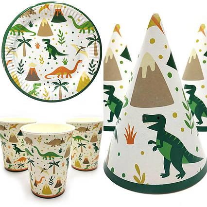 Набор детской одноразовой посуды Динозавры на белом 10 стаканов , 10 тарелок, 10 колпачков
