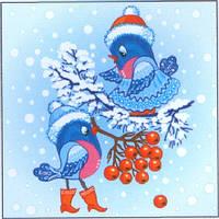 Салфетка новый год La Fleur свидание воробушков