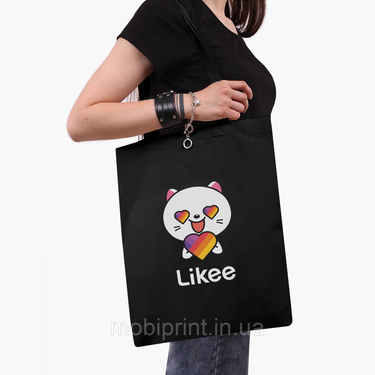 Еко сумка шоппер чорна Лайк Котик (Likee Cat) (9227-1036-2) екосумка шопер 41*35 см