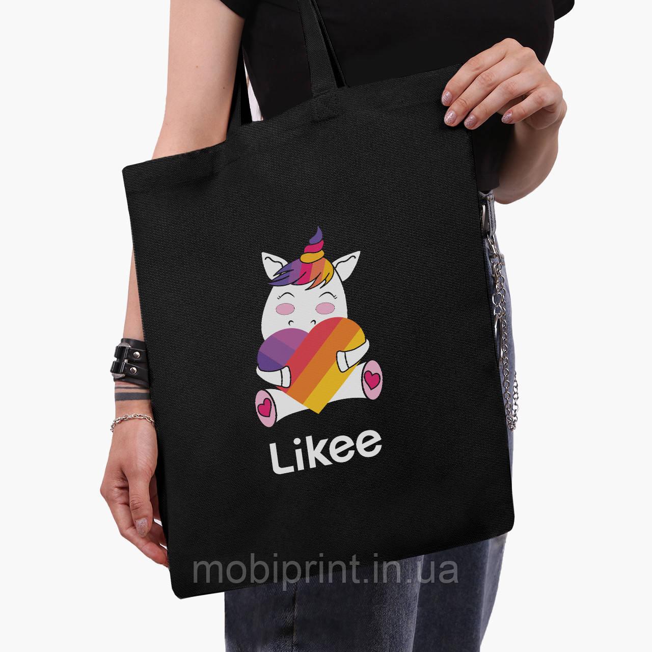 Еко сумка шоппер чорна Лайк Єдиноріг (Likee Unicorn) (9227-1037-2) екосумка шопер 41*35 см