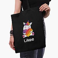 Еко сумка шоппер чорна Лайк Єдиноріг (Likee Unicorn) (9227-1037-2) екосумка шопер 41*35 см, фото 1