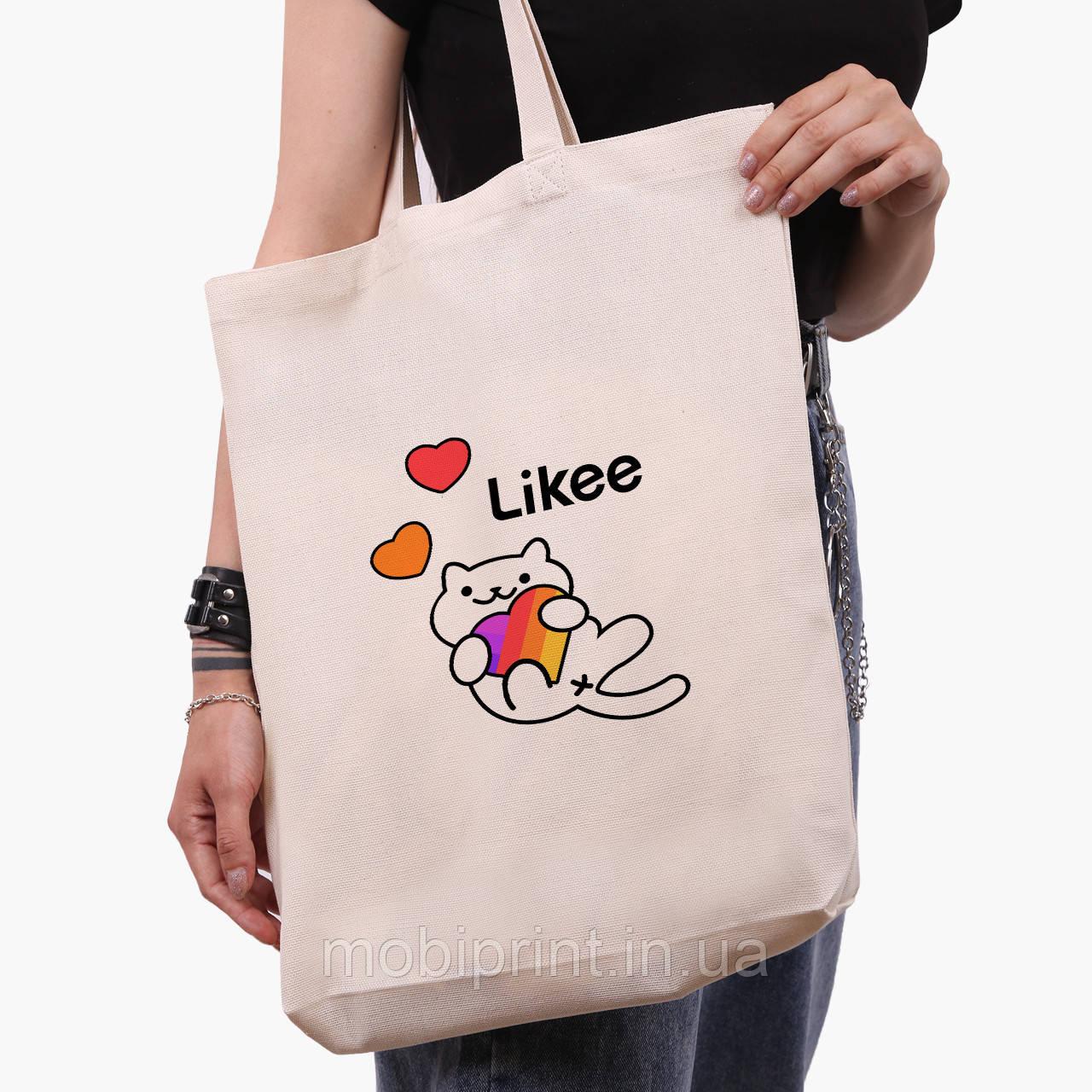 Эко сумка шоппер белая Лайк (Likee) (9227-1039-1)  экосумка шопер 41*39*8 см