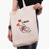 Эко сумка шоппер белая Лайк (Likee) (9227-1039-1)  экосумка шопер 41*39*8 см , фото 1