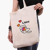 Эко сумка шоппер белая Лайк Котик (Likee Cat) (9227-1039-1)  экосумка шопер 41*39*8 см