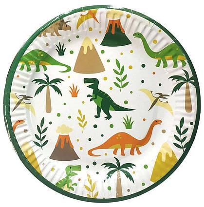Тарелки детские одноразовые Динозавры на белом  10 шт