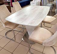 Стол обеденный California White MJ027 (Калифорния) EvrodimT7242, столешница матовый МДФ  (рисунок керамика)