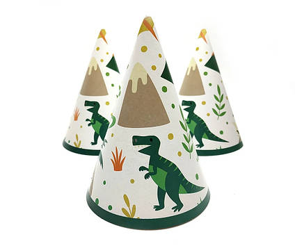 Колпачки детские праздничные  Динозавры на белом .10 шт 16 см